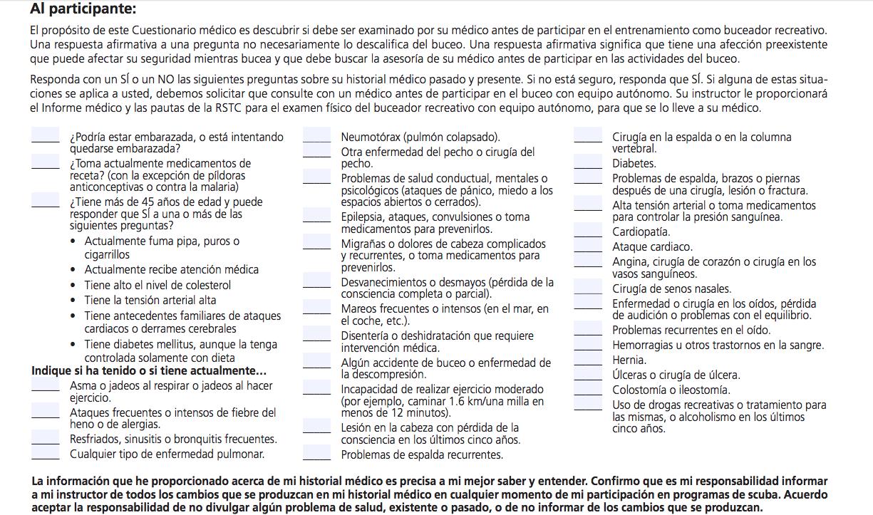 Cuestionario Médico